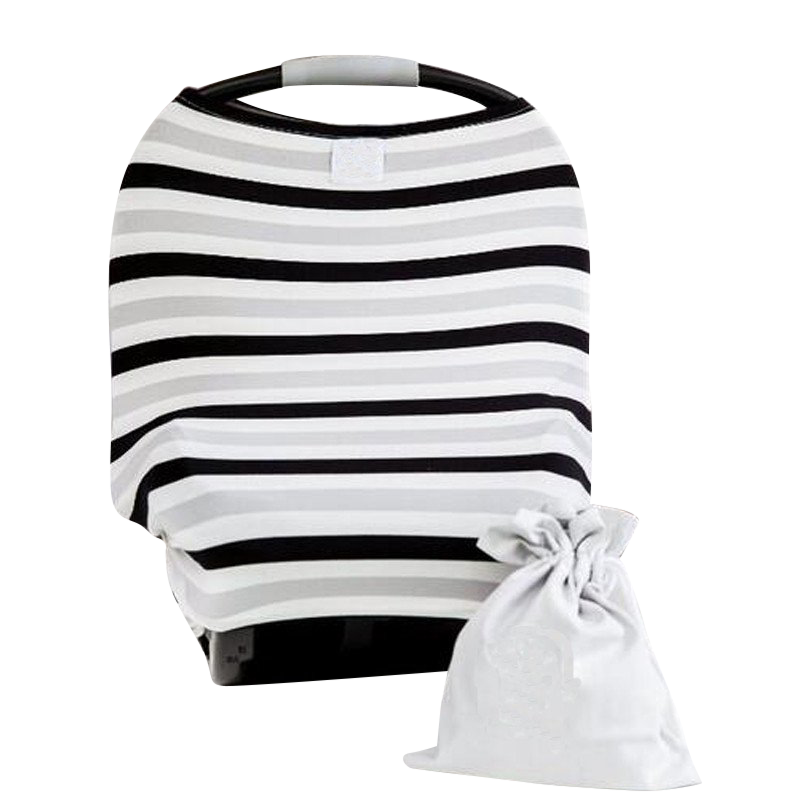 Baby Car Seat Canopy & Nursing Cover Multi-Use Stretchy - Grey/Black/White Stripe