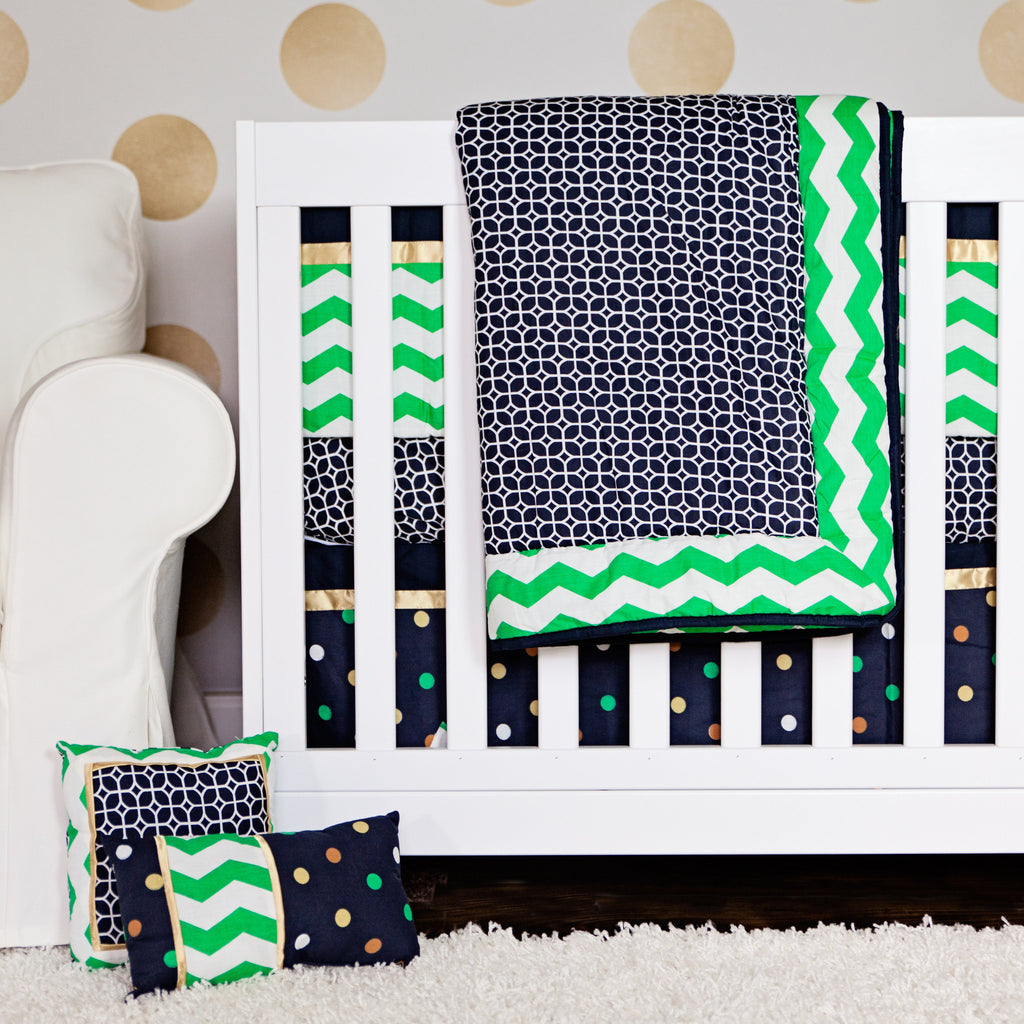 7 Piece Chevron Crib Bedding Set