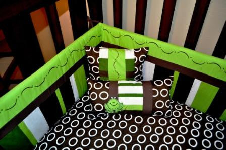 7 Piece Green Frog Crib Bedding Set
