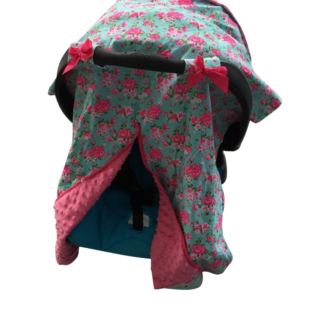 Minky Lined Car Seat Canopy/Cover - Floral Pink Minky