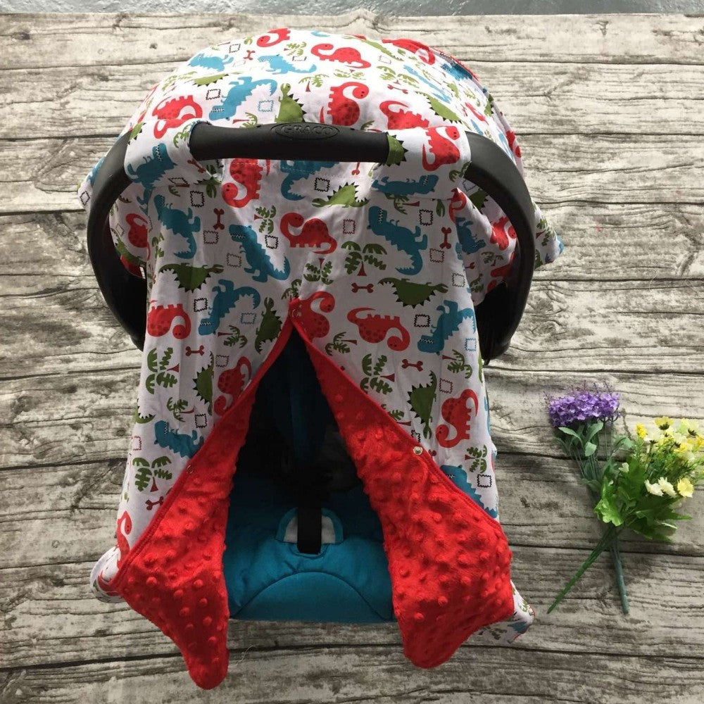 Minky Lined Car Seat Canopy/Cover - Dinosaur Red Minky