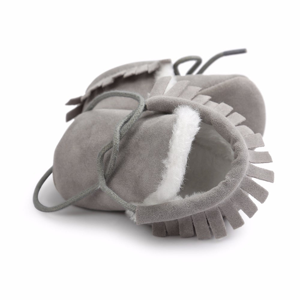 Baby Fringe Moccasins Soft Soled Footwear Suede Leather Newborn - Grey Fur