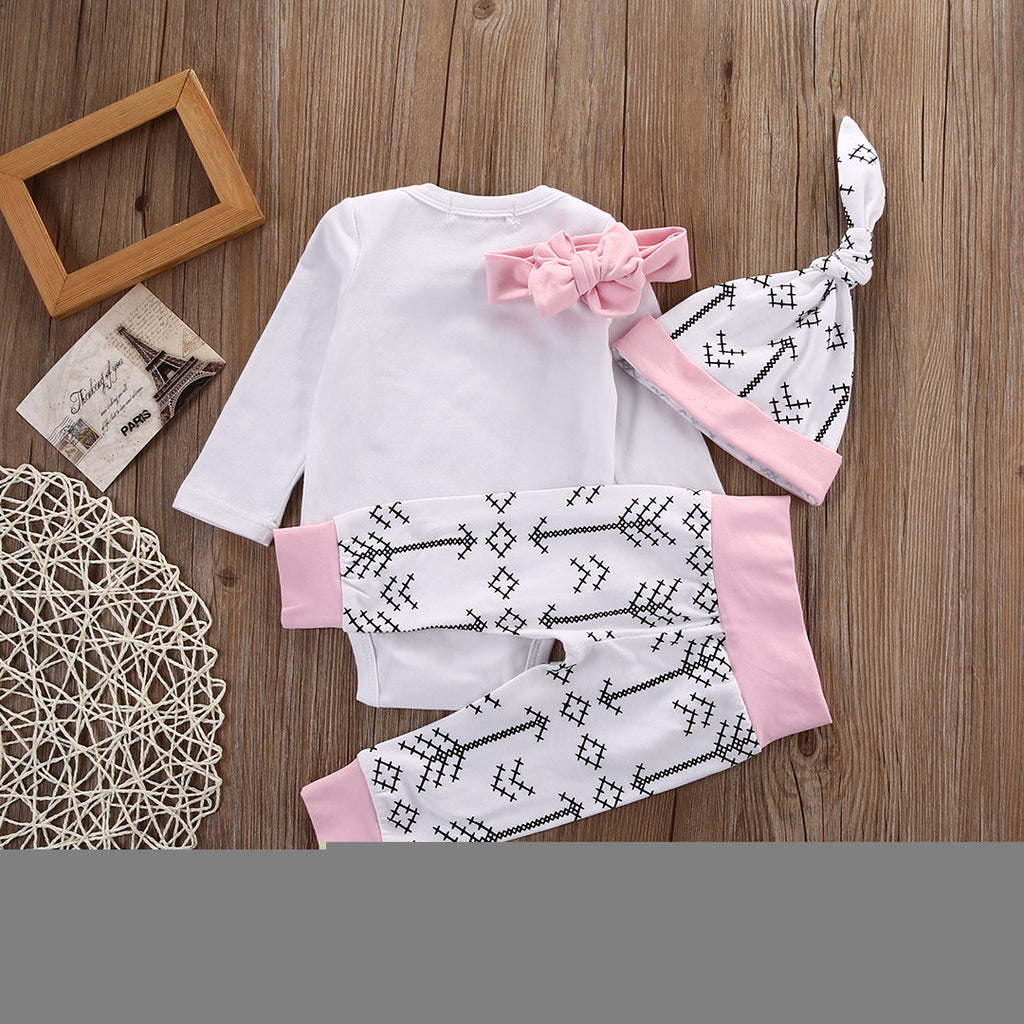 4pc Newborn Baby Girls Chick Long Sleeve Cotton Tops+ Pants + Hat + Bow