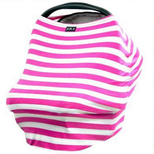 Baby Car Seat Canopy & Nursing Cover Multi-Use Stretchy - Pink/White Stripe