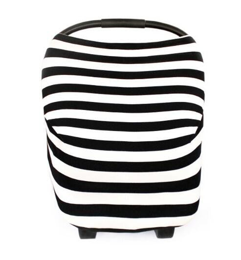 Baby Car Seat Canopy & Nursing Cover Multi-Use Stretchy - Classic Black/White Stripe