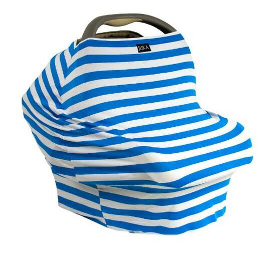 Baby Car Seat Canopy & Nursing Cover Multi-Use Stretchy - Blue/White Stripe