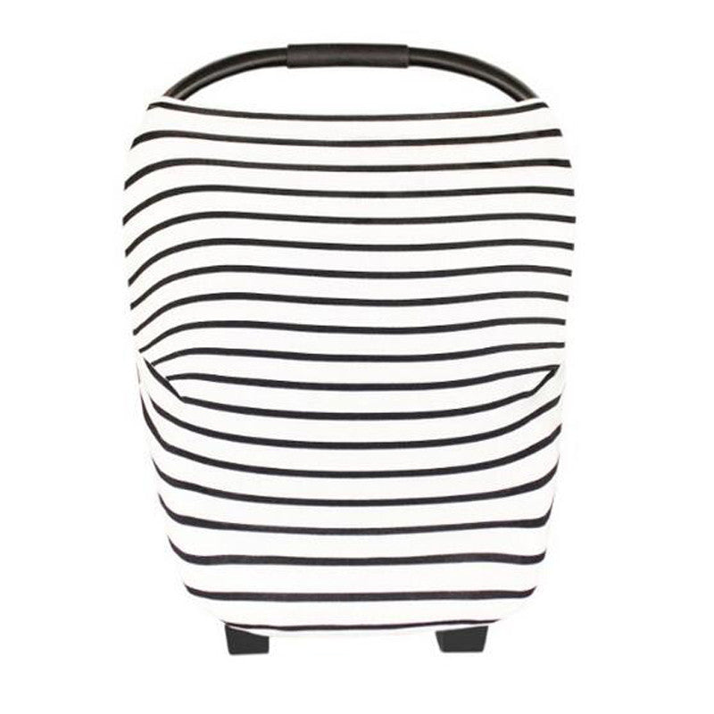 Baby Car Seat Canopy & Nursing Cover Multi-Use Stretchy - Thin Black/White Stripe