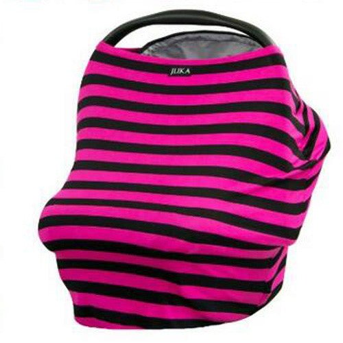Baby Car Seat Canopy & Nursing Cover Multi-Use Stretchy - Hot Pink/Black Stripe