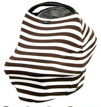 Baby Car Seat Canopy & Nursing Cover Multi-Use Stretchy - Brown/White Stripe
