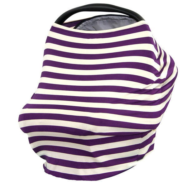 Baby Car Seat Canopy & Nursing Cover Multi-Use Stretchy - Purple/White Stripe