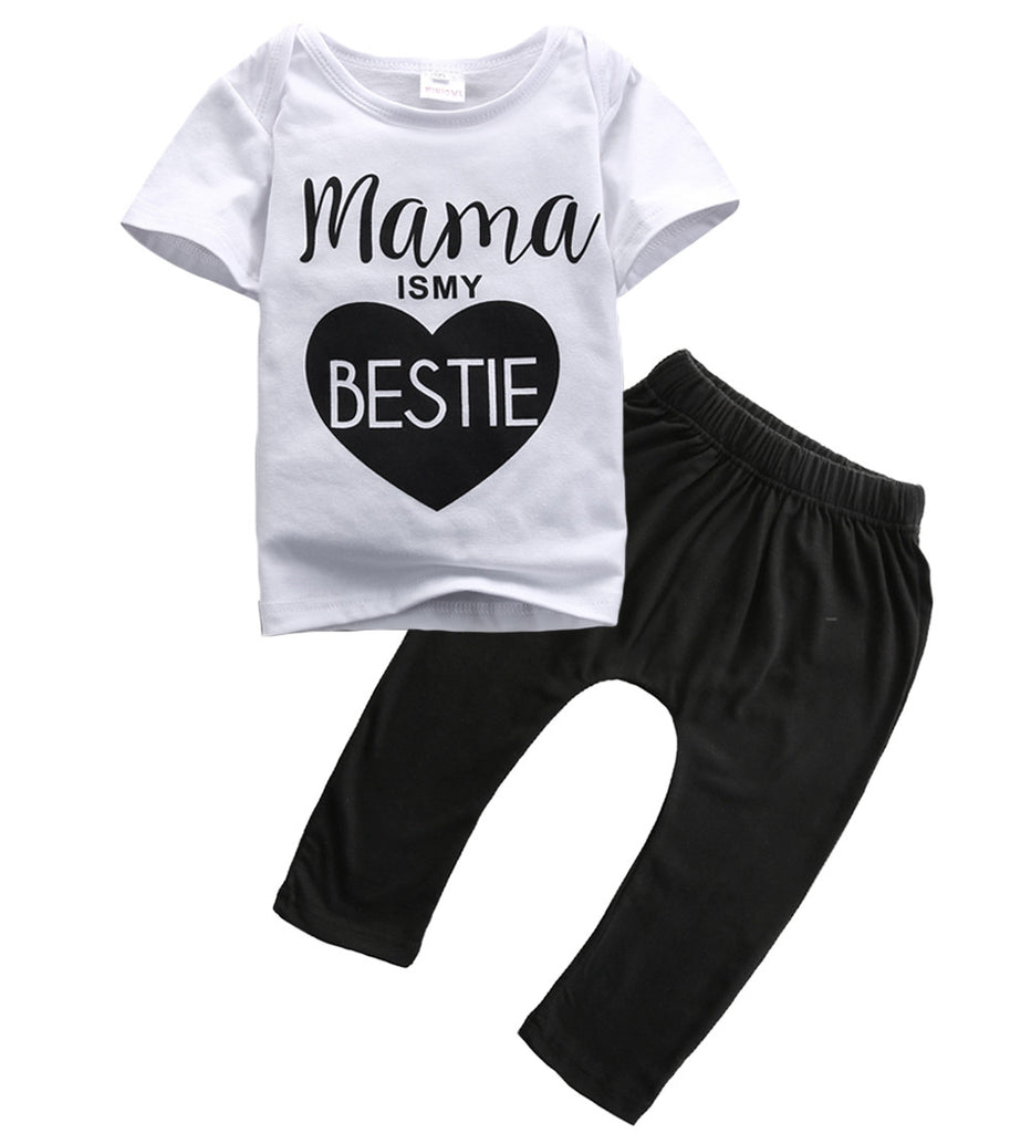 """Mama is my Bestie"" Baby Girl Short Sleeve Mama T-Shirt Top + Pant 2 Piece Outfit"