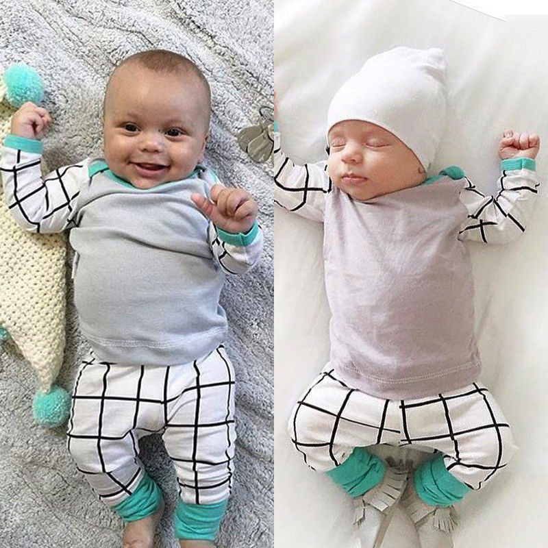 3PCS Set Newborn Kids Baby Boy Outfit Long Sleeve T-shirt + Pants Legging + Hat Blue / Grey