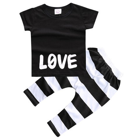 2 Piece Baby Outfit Short Sleeved T Shirt & Pants - Love