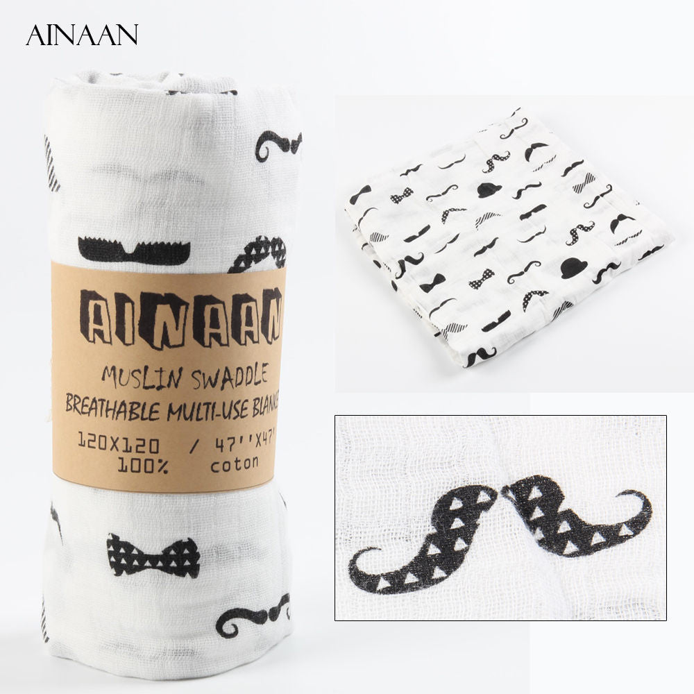Muslin Cotton Baby Swaddle For Newborn Baby - Mustache