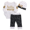 Baby Girl Cotton Gold Heart Long Sleeve Romper+Pants Leggings+Hat 3pcs Outfit