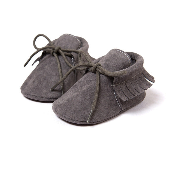 Baby Fringe Moccasins Soft Soled Footwear Suede Leather Newborn - Dark Grey