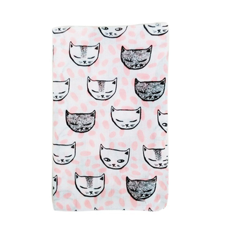 Muslin Cotton Baby Swaddle For Newborn Baby - Pink Kitty
