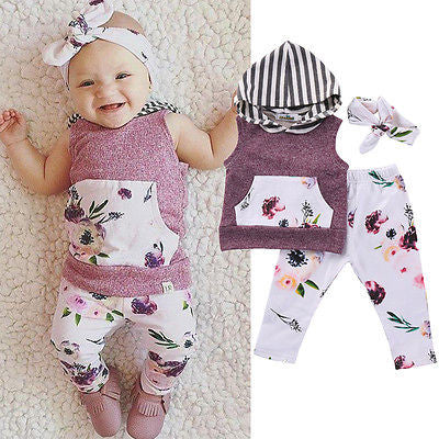 3pcs Baby Girl Floral T-shirt Hooded Sleeveless Top+Legging Pant Headband Outfits Set New