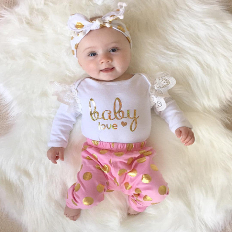 2pc Baby Love Long Sleeve Body Suit + Gold dots pants Newborn Baby Girl Clothing Set