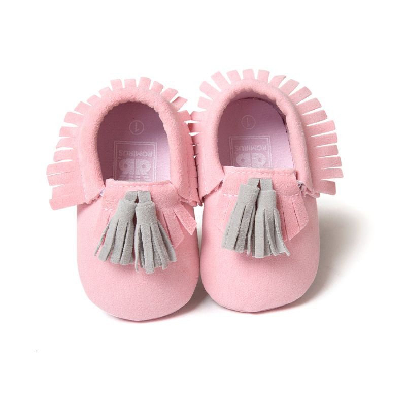 Baby Tassel Moccasins Shoes Soft Leather Bow First Walkers - Light Pink