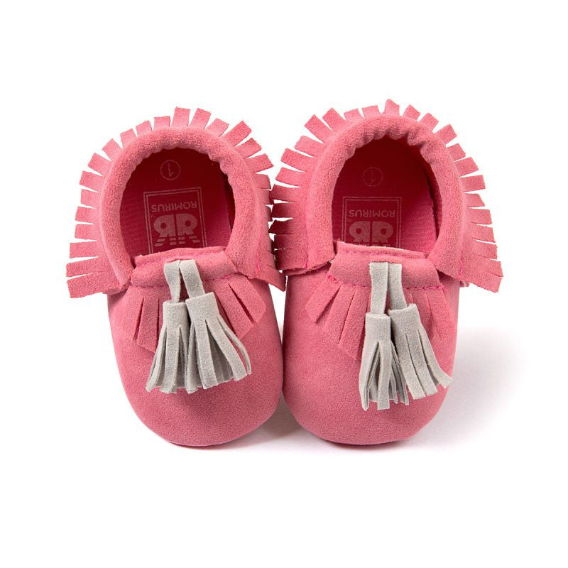 Baby Tassel Moccasins Shoes Soft Leather Bow First Walkers - Pink