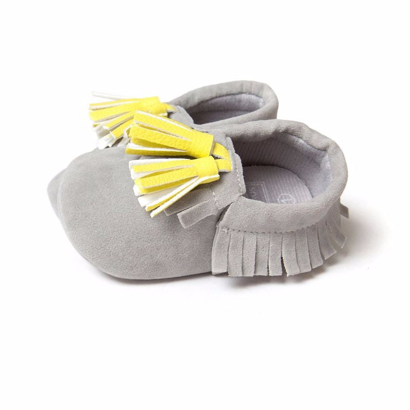 Baby Tassel Moccasins Shoes Soft Leather Bow First Walkers - Light Grey / Yellow