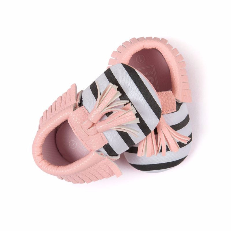Baby Tassel Moccasins Shoes Soft Leather Bow First Walkers - Striped Pink