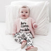 "2pc ""Trouble"" Baby T shirt+Pants Outfit Suit Newborn Sports Suit Clothing Sets"