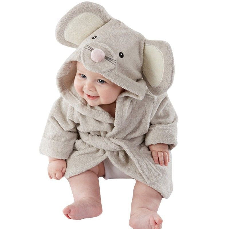 Baby Infant Girl / Boy Cotton Hooded Bathrobe Towel - Cute Mouse