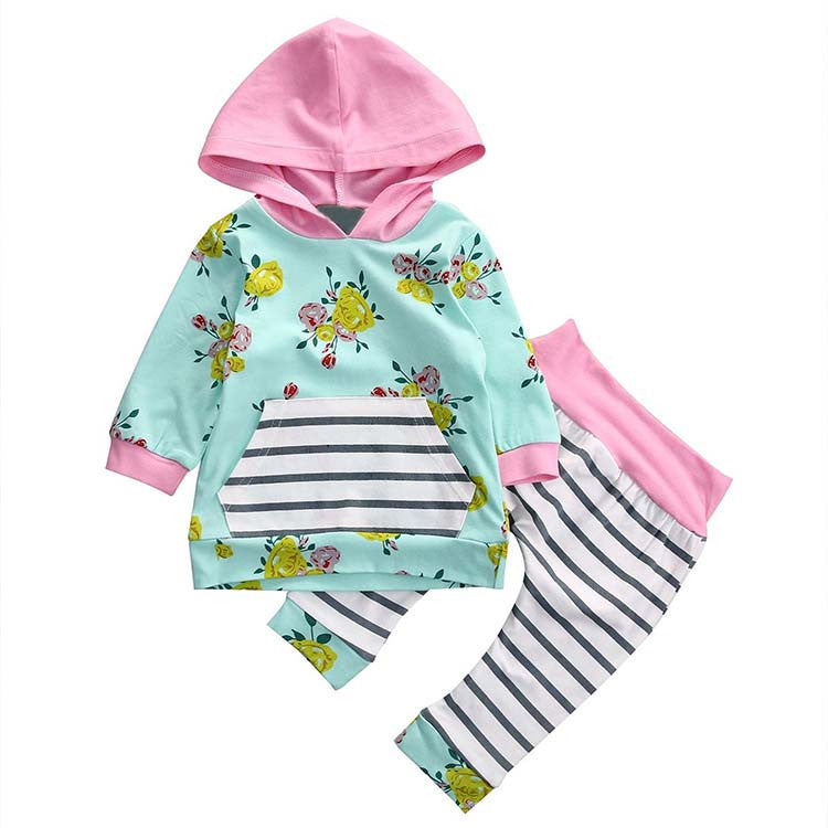 Baby Girls Floral Hoodie + Striped Pant Set Leggings - 2 Piece Set Mint Pink