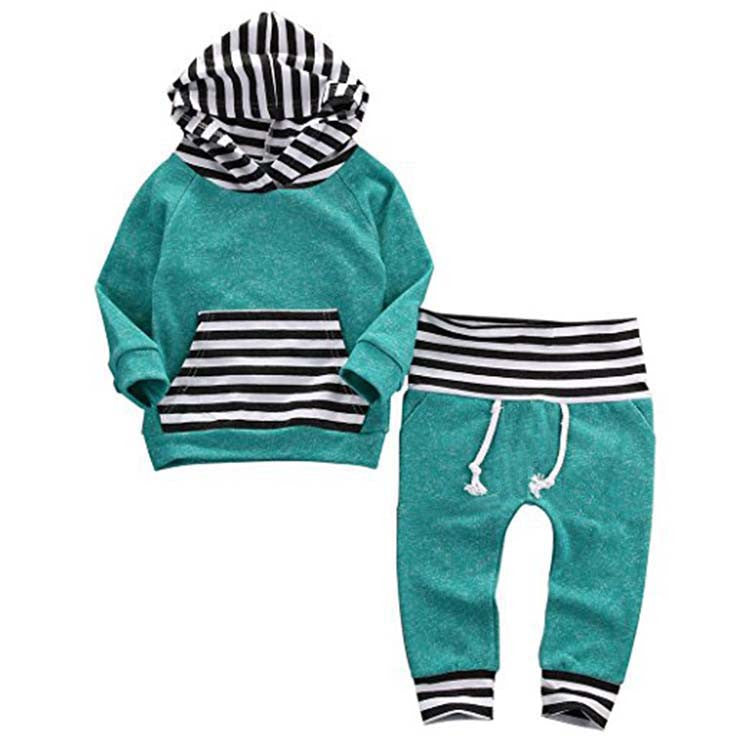 Baby  Striped Hoodie + Jogger Pant Outfit - 2 Piece Set Teal