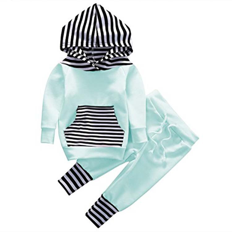 Baby Striped Hoodie + Jogger Pant Outfit - 2 Piece Set Black/White Mint