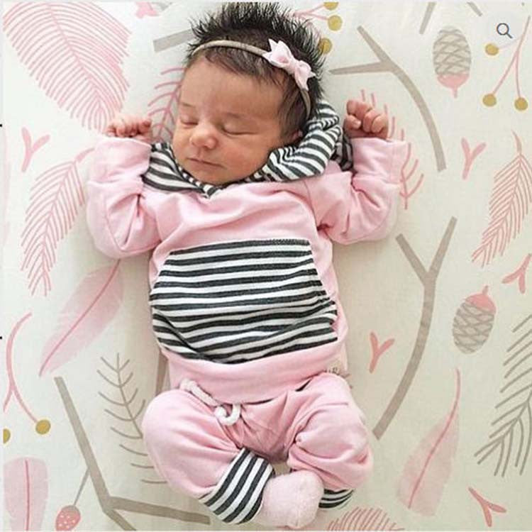 Baby Girl Striped Hoodie + Jogger Pant Outfit - 2 Piece Set Pink