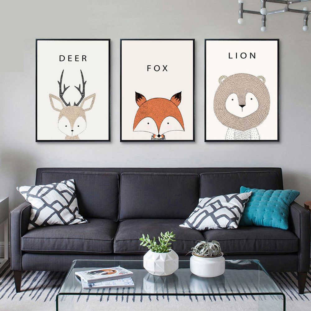 Deer Cartoon Minimal Art Canvas Print Posters for Modern Baby Nursery - No Frame