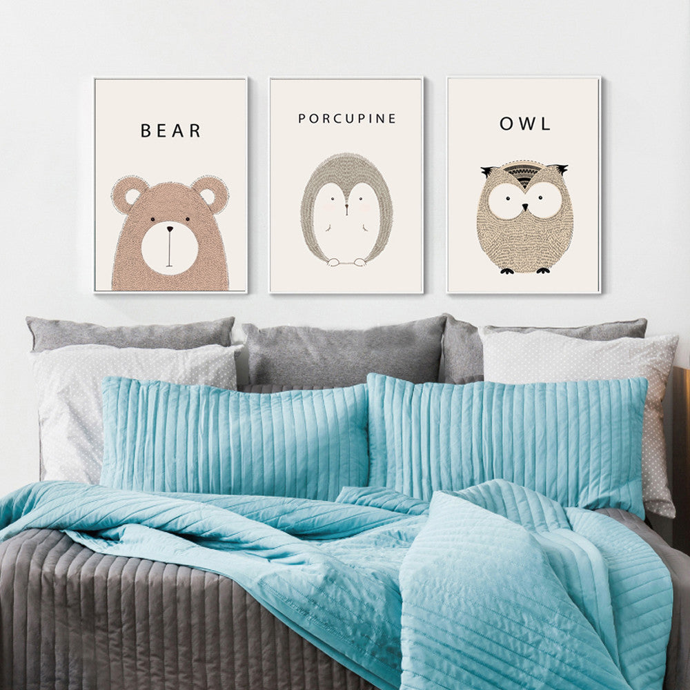 Bear Cartoon Minimal Art Canvas Print Posters for Modern Baby Nursery - No Frame