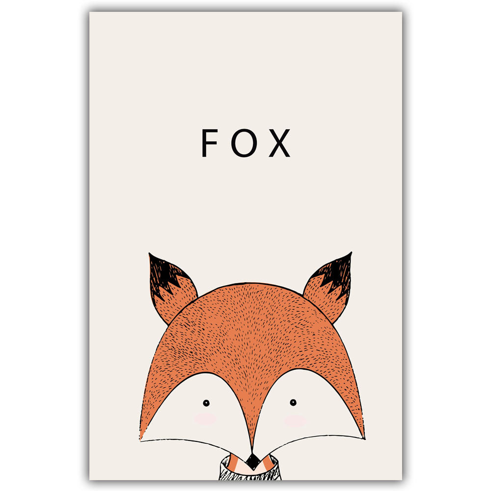 Fox Cartoon Minimal Art Canvas Print Posters for Modern Baby Nursery - No Frame