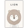 Lion Cartoon Minimal Art Canvas Print Posters for Modern Baby Nursery - No Frame