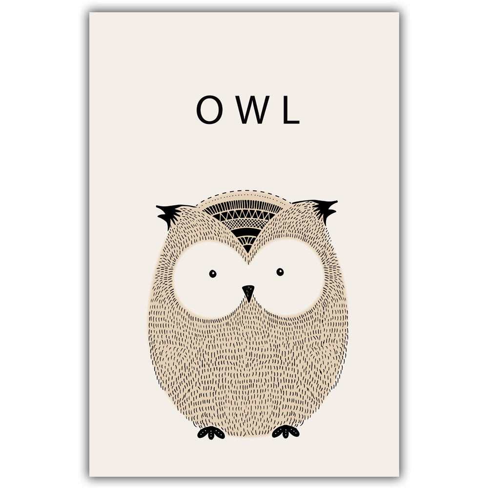 Owl Cartoon Minimal Art Canvas Print Posters for Modern Baby Nursery - No Frame