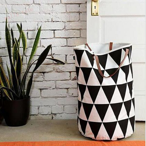Large toy storage bag / Laundry Basket - Black White Half Moon Design