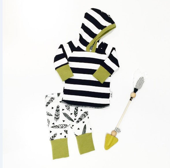 Baby boy 2 piece Stripe Shirt Hoodie+ Plume Pants