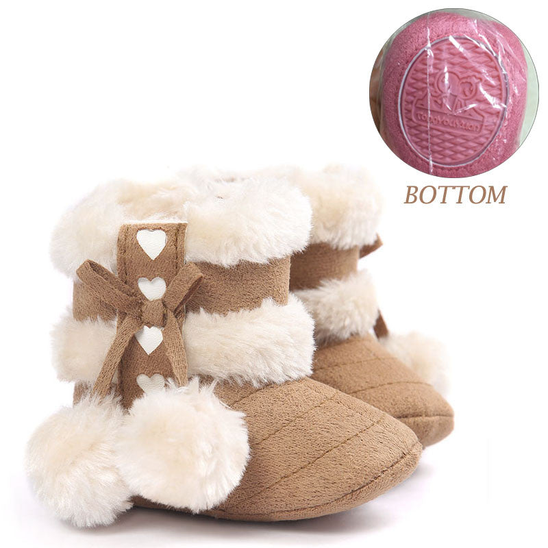 Newborn Children Infant Girls Winter Warm Snow Boots Shoes 0-18M - Tan with White Fur