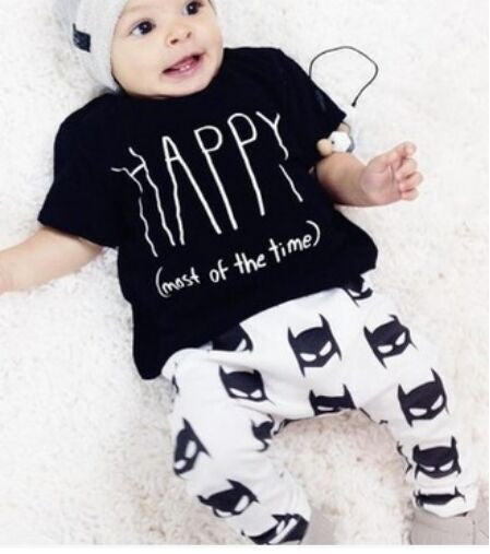 2 Piece Baby Outfit Short Sleeved T Shirt & Pants - Happy