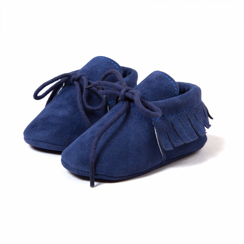 Baby Fringe Moccasins Soft Soled Footwear Suede Leather Newborn - Blue