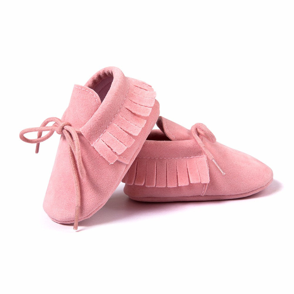 Baby Fringe Moccasins Soft Soled Footwear Suede Leather Newborn - Pink