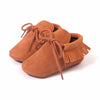 Baby Fringe Moccasins Soft Soled Footwear Suede Leather Newborn - Coffee