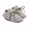 Baby Fringe Moccasins Soft Soled Footwear Suede Leather Newborn - Light Gray