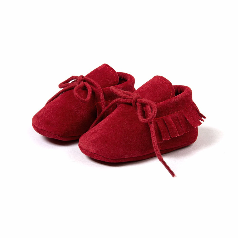 Baby Fringe Moccasins Soft Soled Footwear Suede Leather Newborn - Red