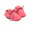 Baby Fringe Moccasins Soft Soled Footwear Suede Leather Newborn - Rose