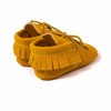 Baby Fringe Moccasins Soft Soled Footwear Suede Leather Newborn - Yellow