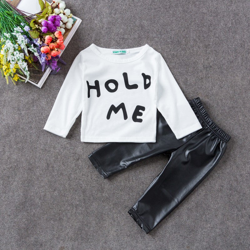 "2pc Baby T shirt+Pants Outfit Newborn Sports Suit Clothing Sets - ""Hold Me"""